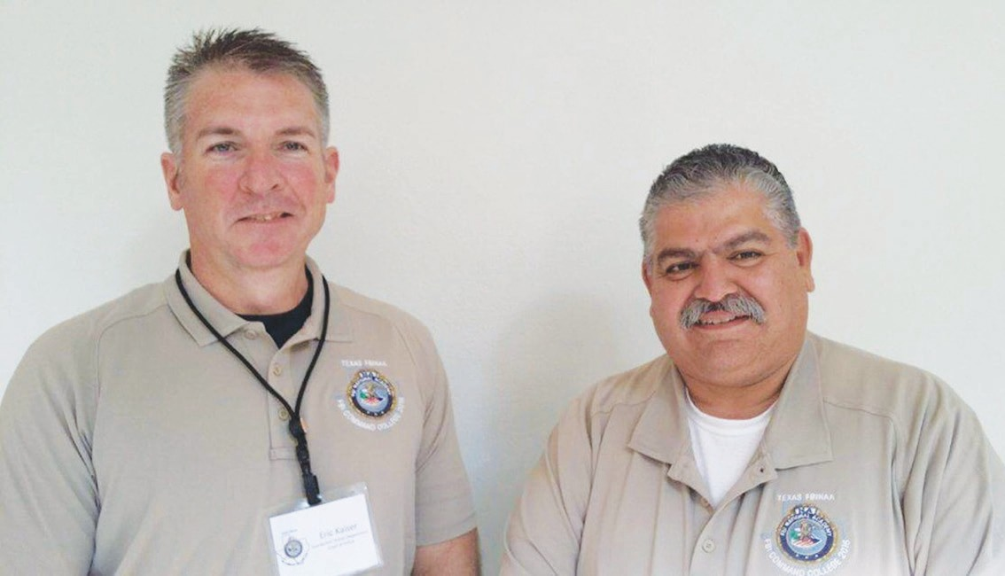 Jourdanton Police Chief Eric Kaiser and Pleasanton Police Chief Ronald Sanchez at training in San Antonio.
