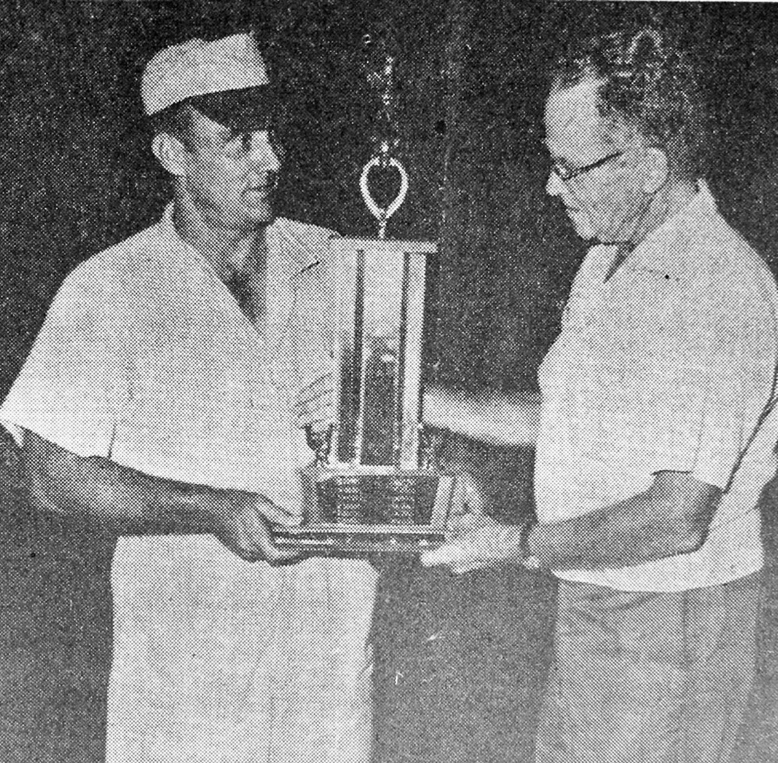 Championship Trophy is awarded Falcon Skipper, Jim Malone, by L-L President P.W. McDaniel. Photo original ran in the July 13, 1966 edition of the Pleasanton Express.